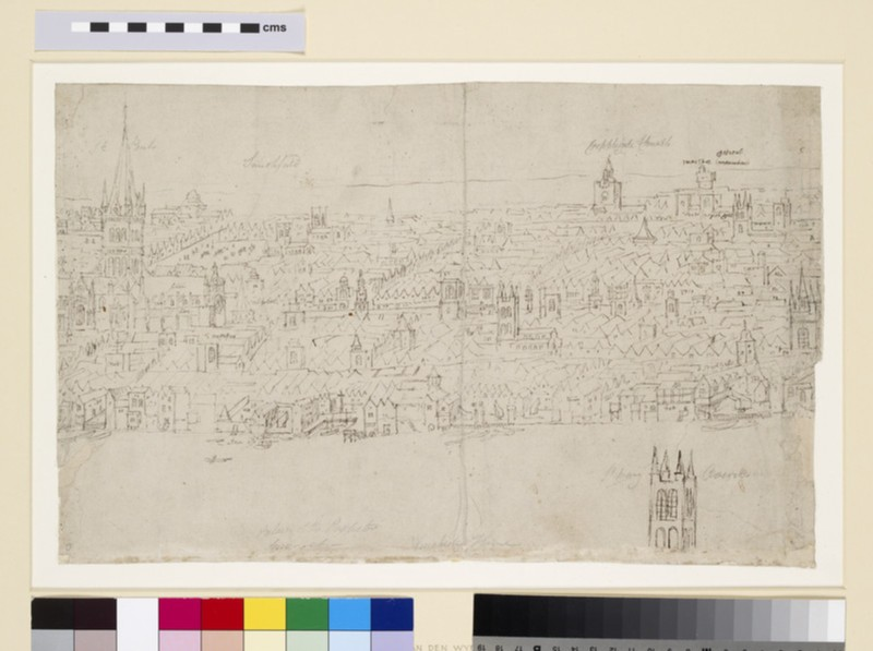 Panorama of London as seen from Southwark: St Paul's Cathedral (WA1950.206.5)