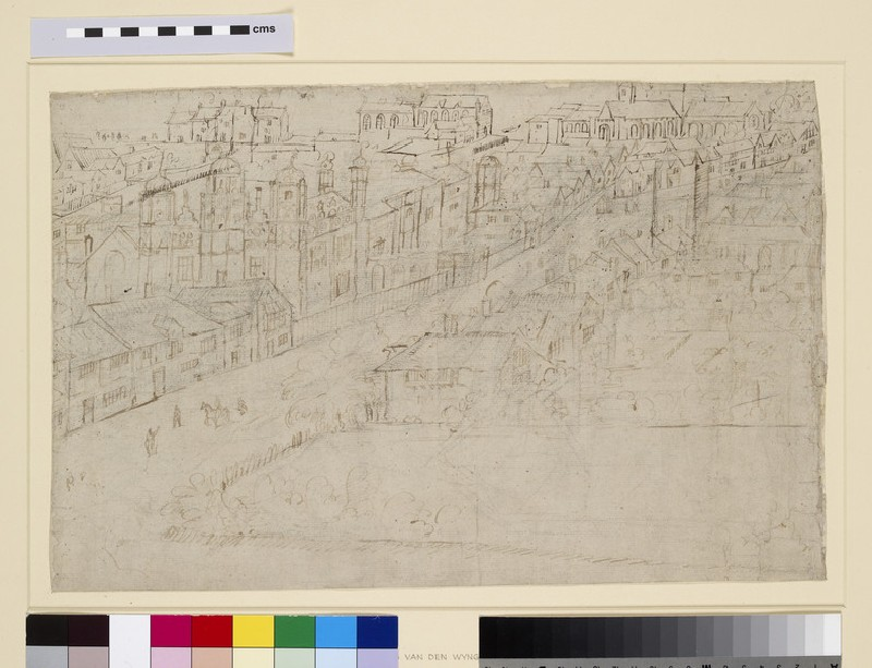 Panorama of London as seen from Southwark: Borough High Street with St Mary Overy
