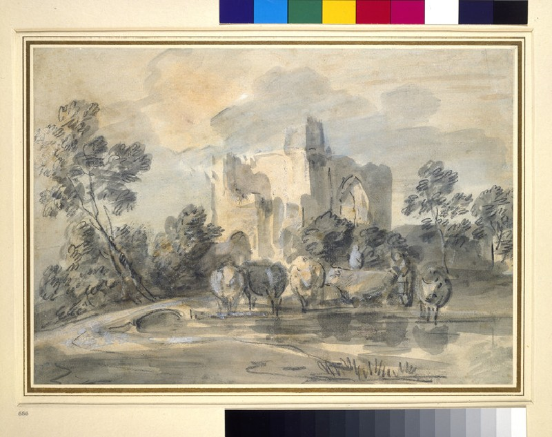 Landscape with a ruined Castle, and Cattle by a Pool