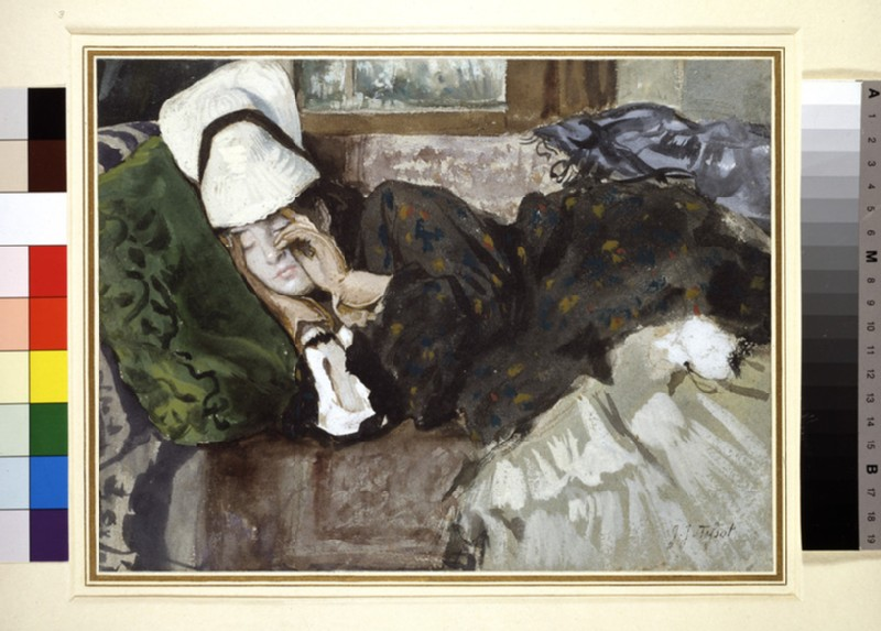 Woman in outdoor costume, sleeping on a couch (WA1951.218)