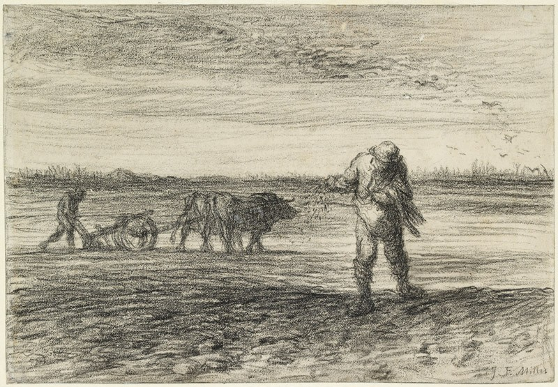 Man ploughing and another sowing (WA1951.22, front           )
