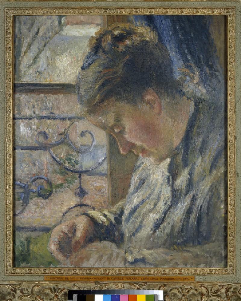 Julie Pissarro Sewing beside a Window (WA1951.225.3)
