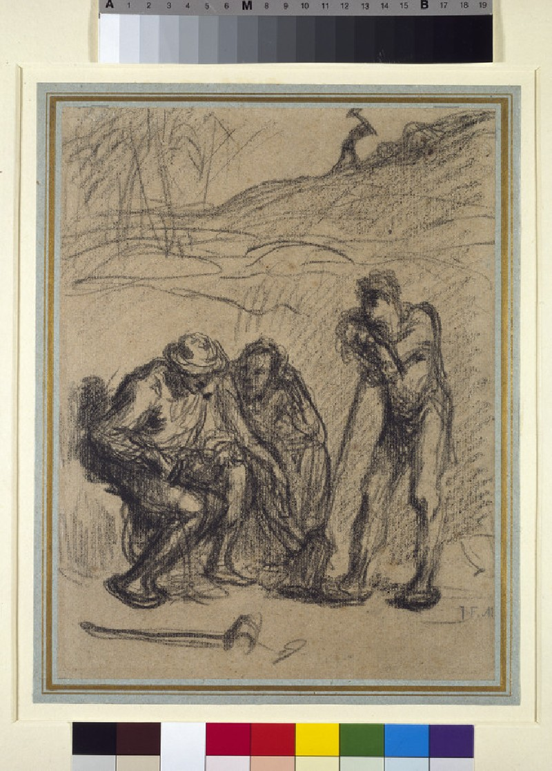 Three peasants resting, one leaning on a spade