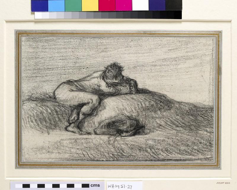 A man crouching on a hillock (WA1951.27)