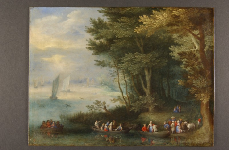 Ferry-Boats by a wooded Riverbank