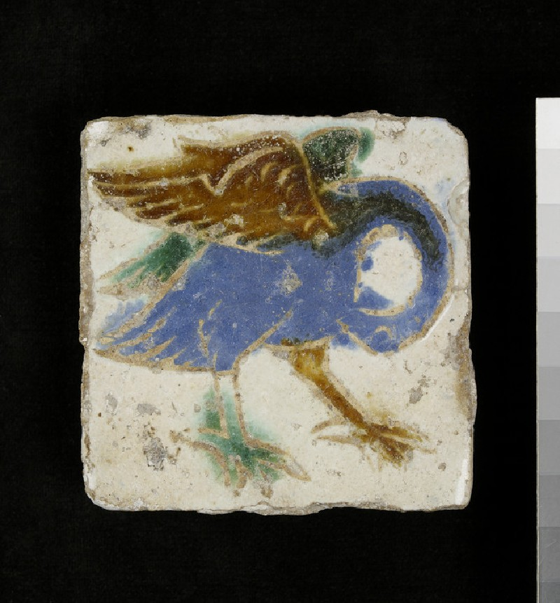 Tile with a pelican (WA1951.61)