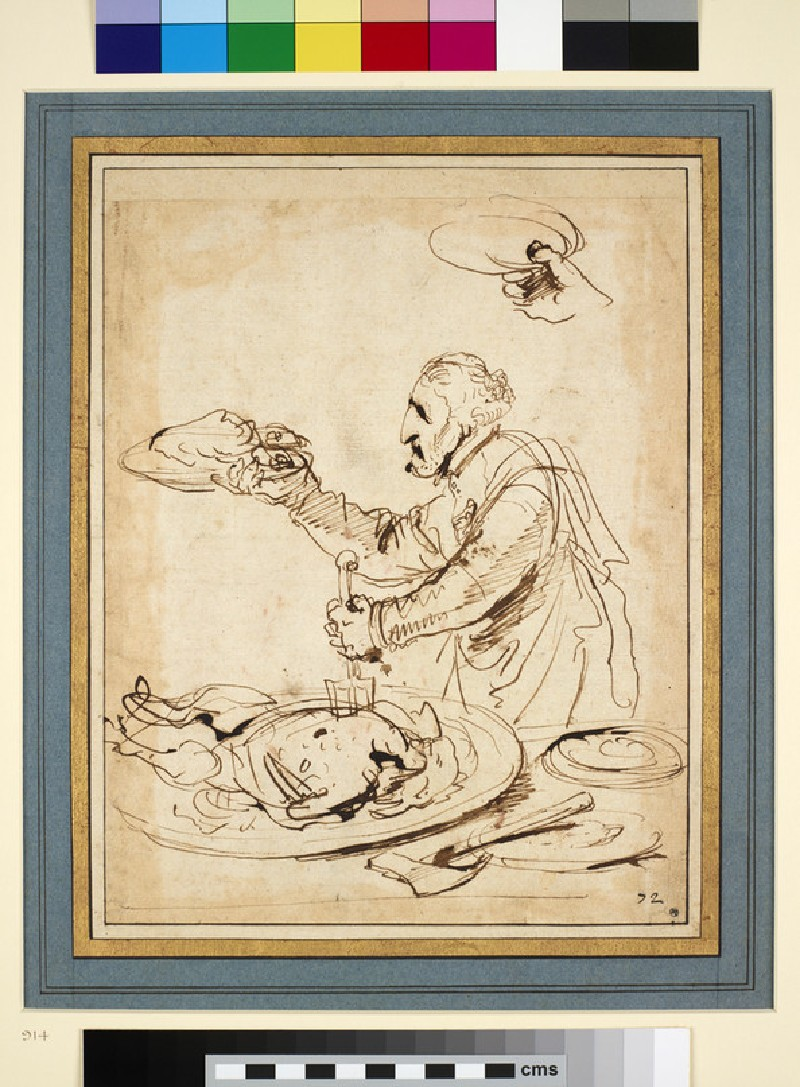Caricature of a Man carving a Capon