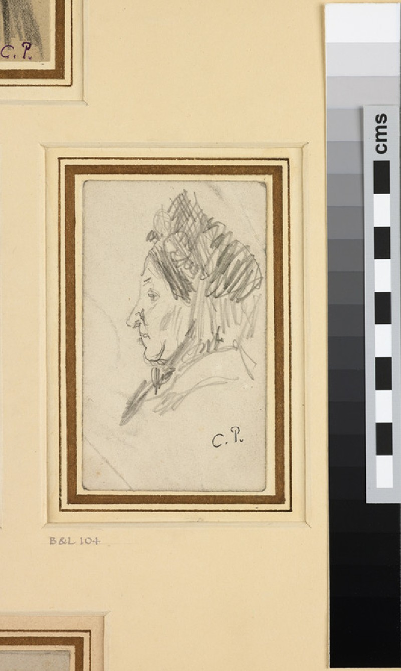 Study of the head of a woman wearing a hat seen in profile facing left