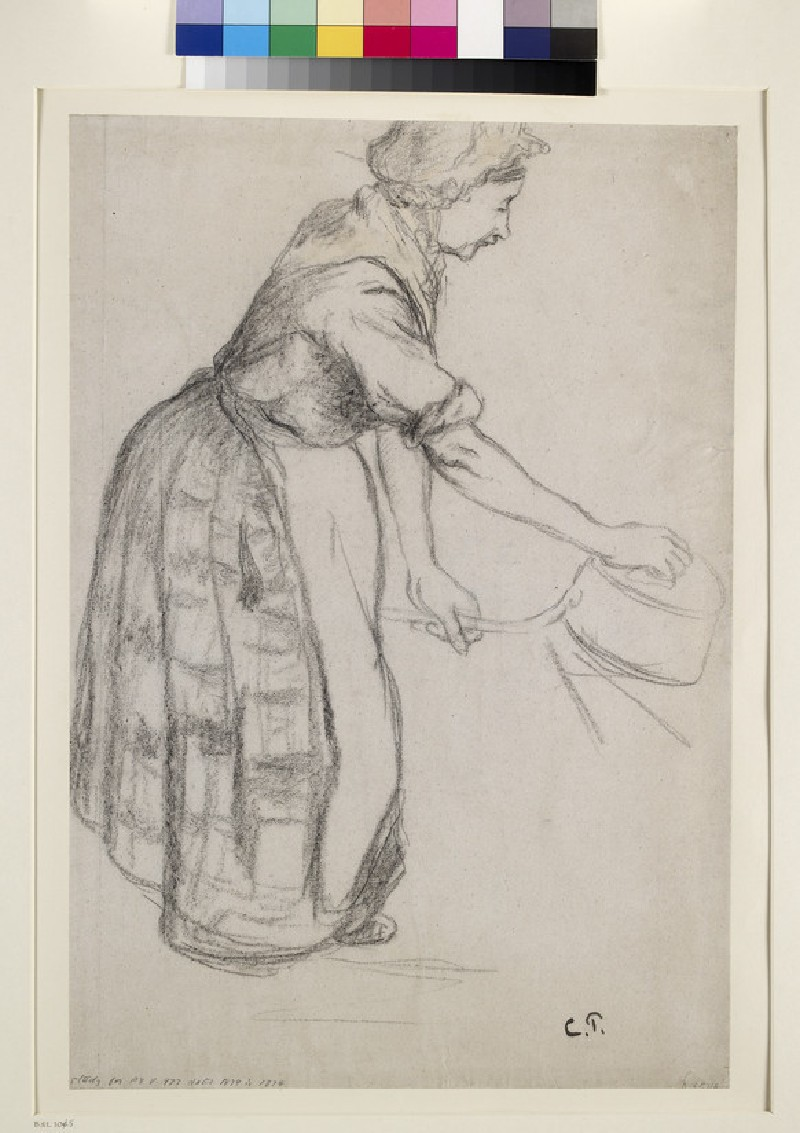 Study of a female peasant cleaning a saucepan