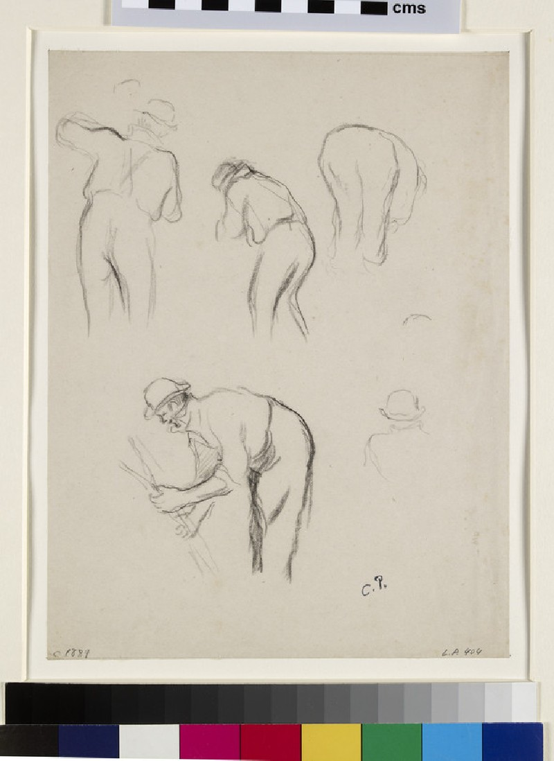 Five studies of a male peasant working