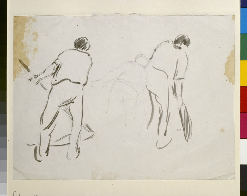 Recto: Three studies of a male harvester<br />Verso: Four studies of male harvesters (WA1952.6.165)