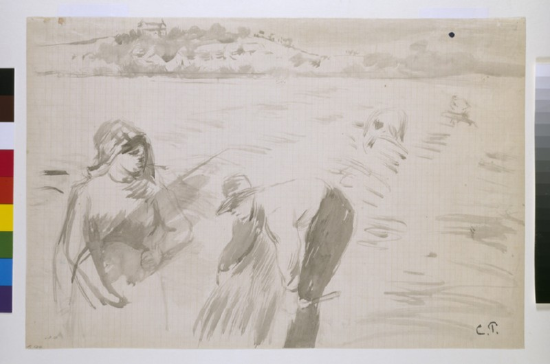 Study of harvesters working in a field near Pontoise