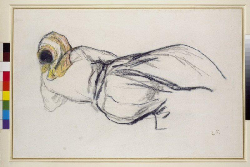 Study of a female peasant lying on the ground seen from the back