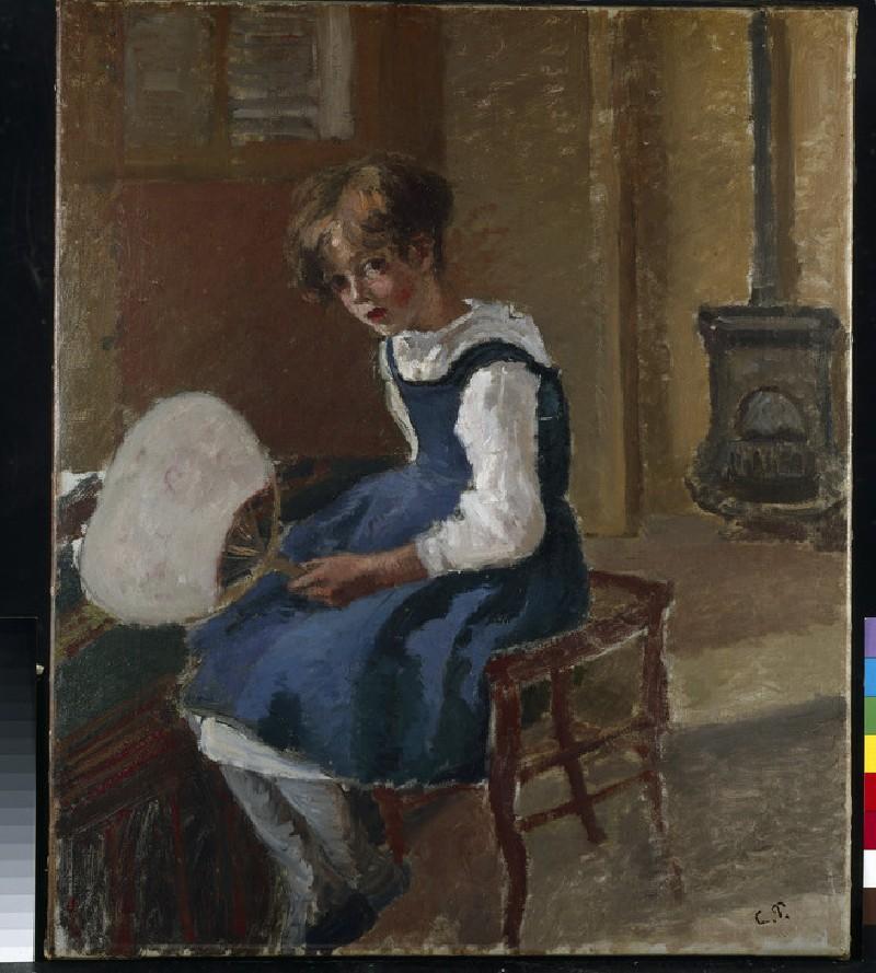 Jeanne Pissarro (Minette) holding a Fan (WA1952.6.2)