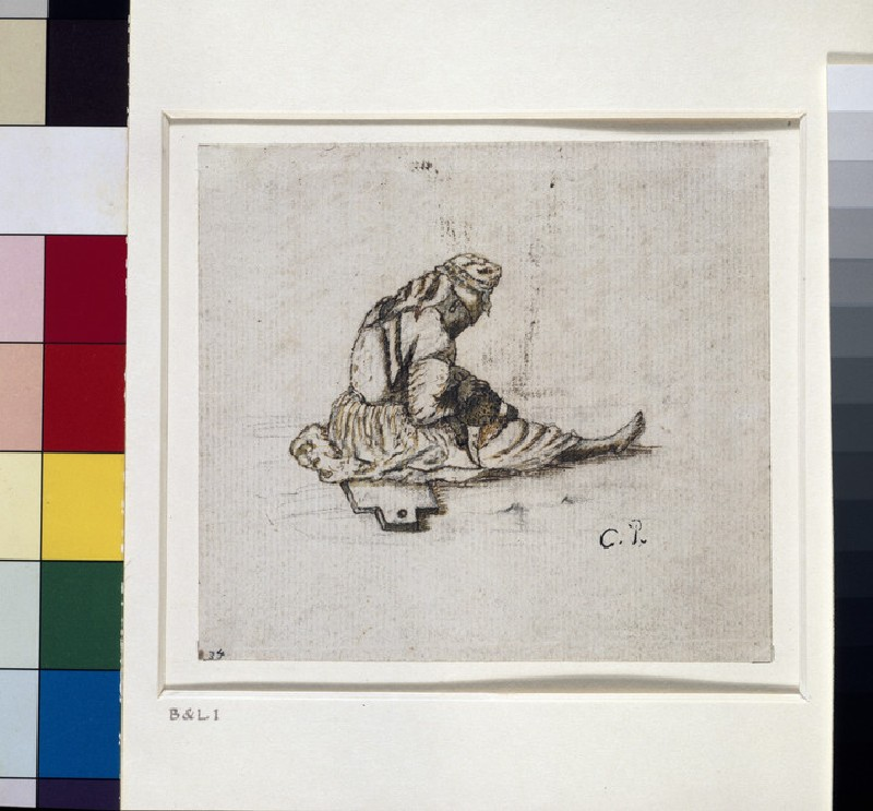 Recto: Study of a seated female figure sewing<br />Verso: Portion of an alphabetized account book written in English