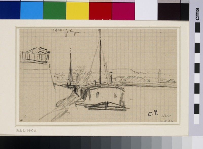 Study of a river landscape with a barge, Compiègne (WA1952.6.214)