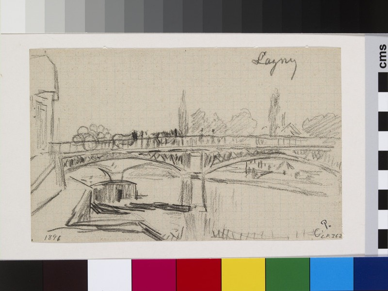 Recto: Study of the bridge at Lagny<br />Verso: Slight sketch of the profiles of two houses