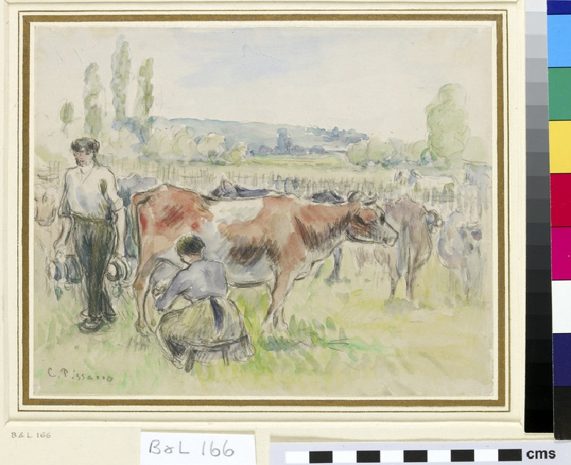 Compositional Study of a Milking Scene at Eragny-sur-Epte (WA1952.6.223)