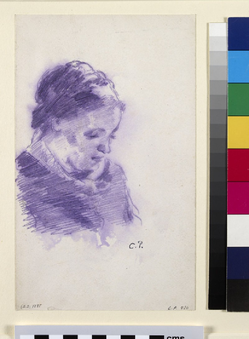 Bust-length portrait of Madame Pissarro seen in three-quarters profile facing right