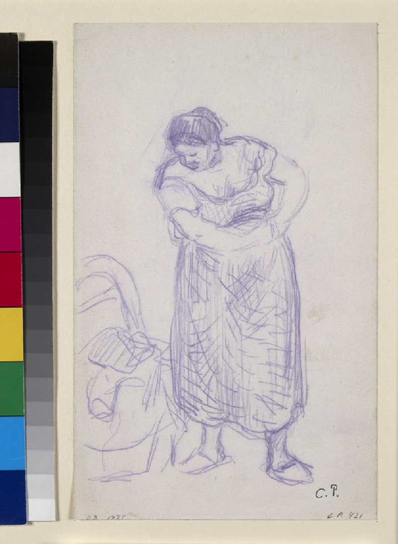 Recto: Study of a woman dressing<br />Verso: Study of three female bathers in a wooded landscape