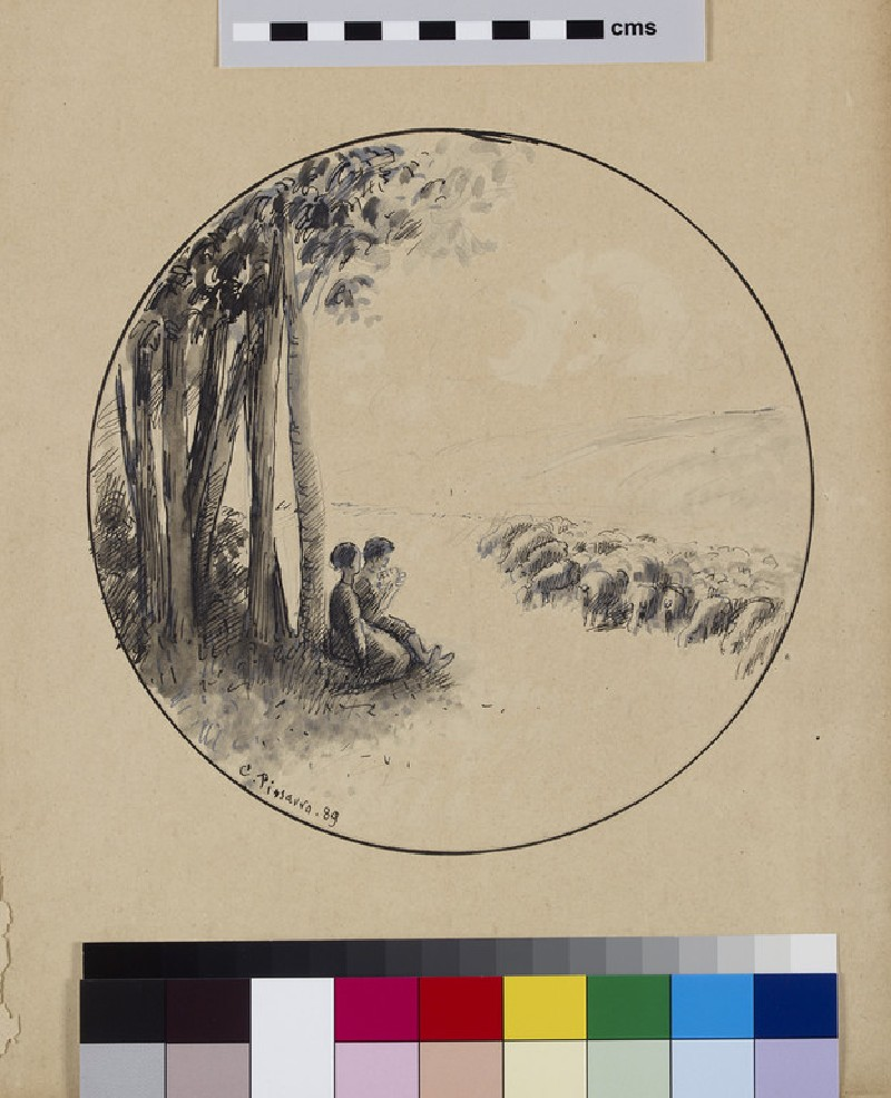 Shepherd and shepherdess seated beneath a clump of trees, a sheet from a book