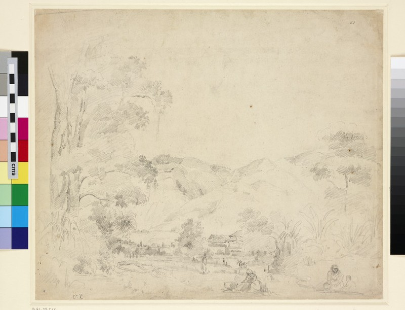 Recto: Landscape with female Figures washing Clothes in a River