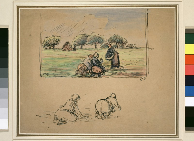 Compositional study of a landscape with three female peasants working in a field with two further figure studies below