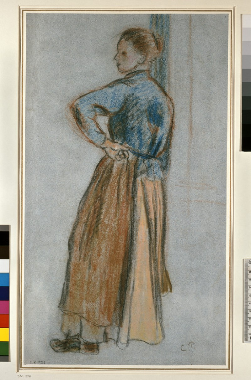 Study of a young woman standing with left hand on hip leaning against a window (WA1952.6.378)