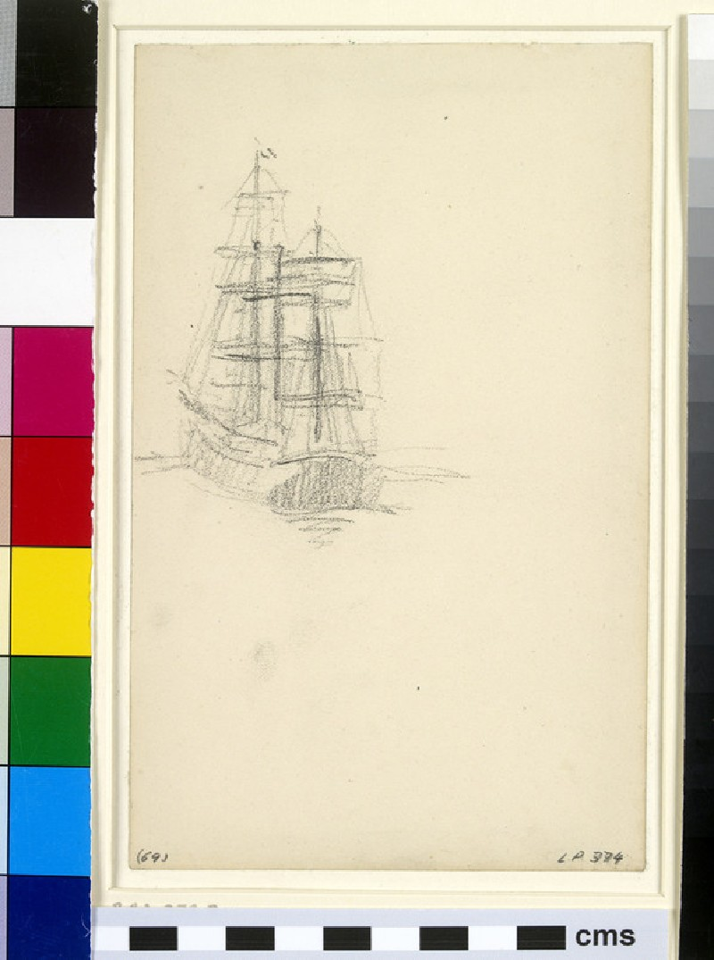 Study of a three-masted schooner sailing to port seen from the stern