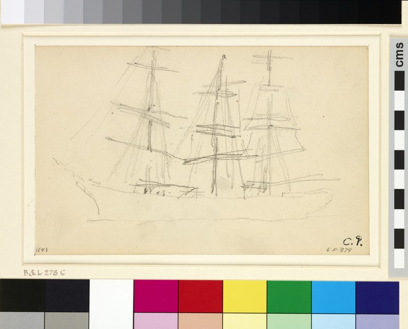 Study of a three-masted schooner seen from the port side
