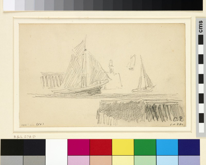 Study of three sailing boats at the entrance to the harbour, Le Havre (WA1952.6.389)