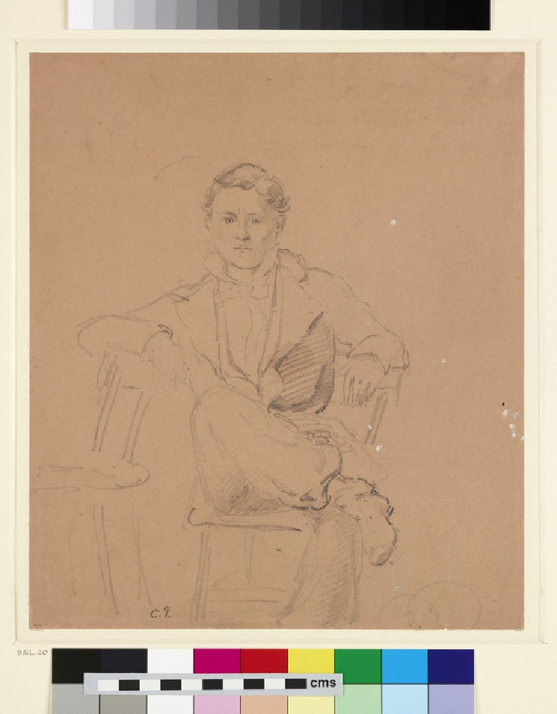Recto: Portrait of a young Man seated on a Chair<br />Verso: Study of a Landscape