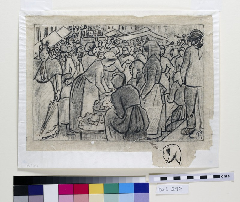 Compositional study for 'Market of Gisors (rue Cappeville)' with a study of a woman's head seen in profile facing left beneath (WA1952.6.413)