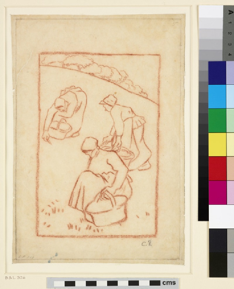 Compositional study for 'Women weeding the grass'