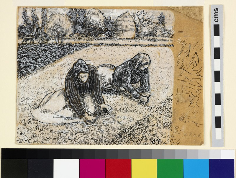 Compositional study of two female peasants weeding in a field