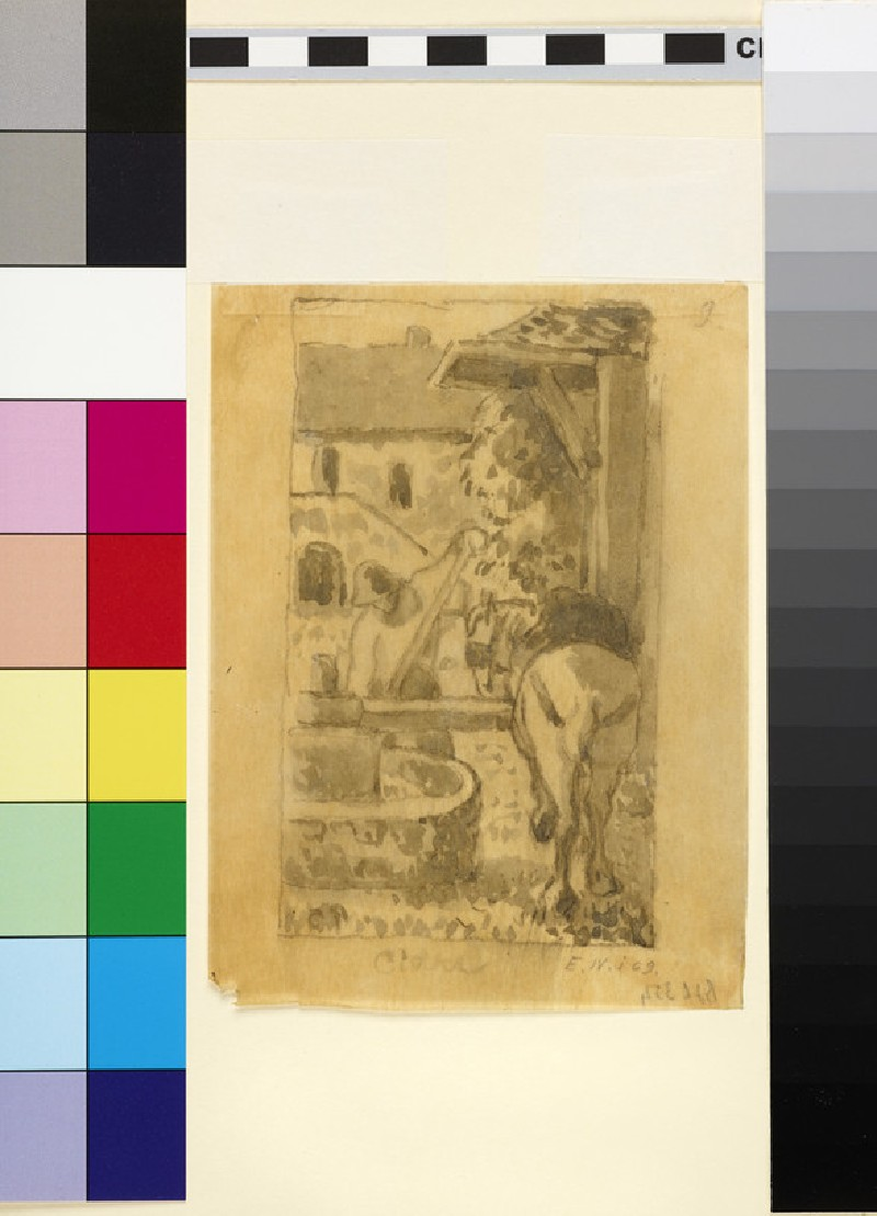Compositional study of a male peasant with a horse operating a cider press