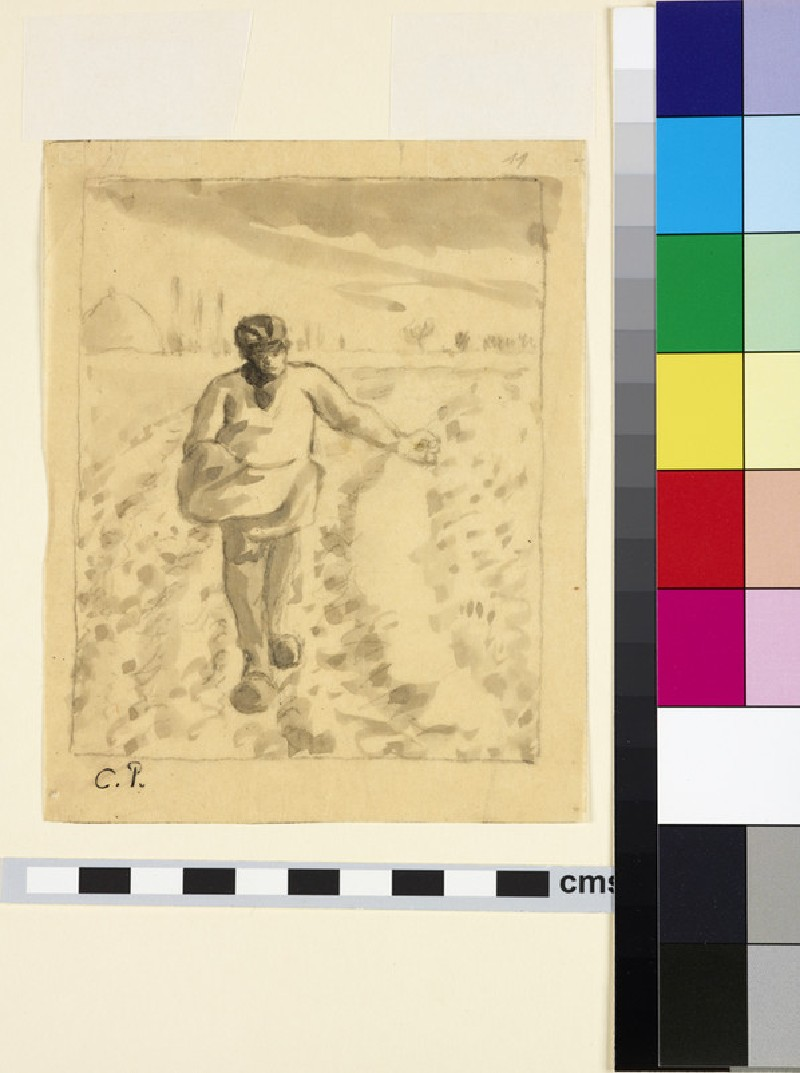 Compositional study of a sower in a field (WA1952.6.476)