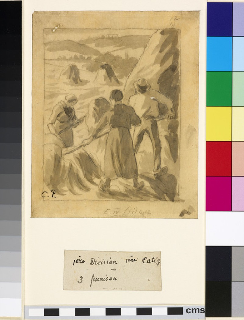 Compositional study of harvesters working in a field (II) (WA1952.6.479)
