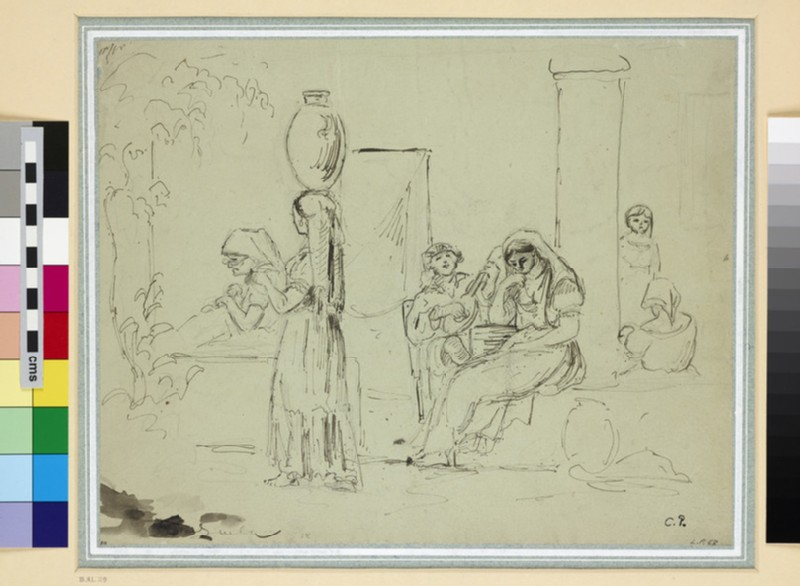 Recto: Group of Figures on the Porch of a House
