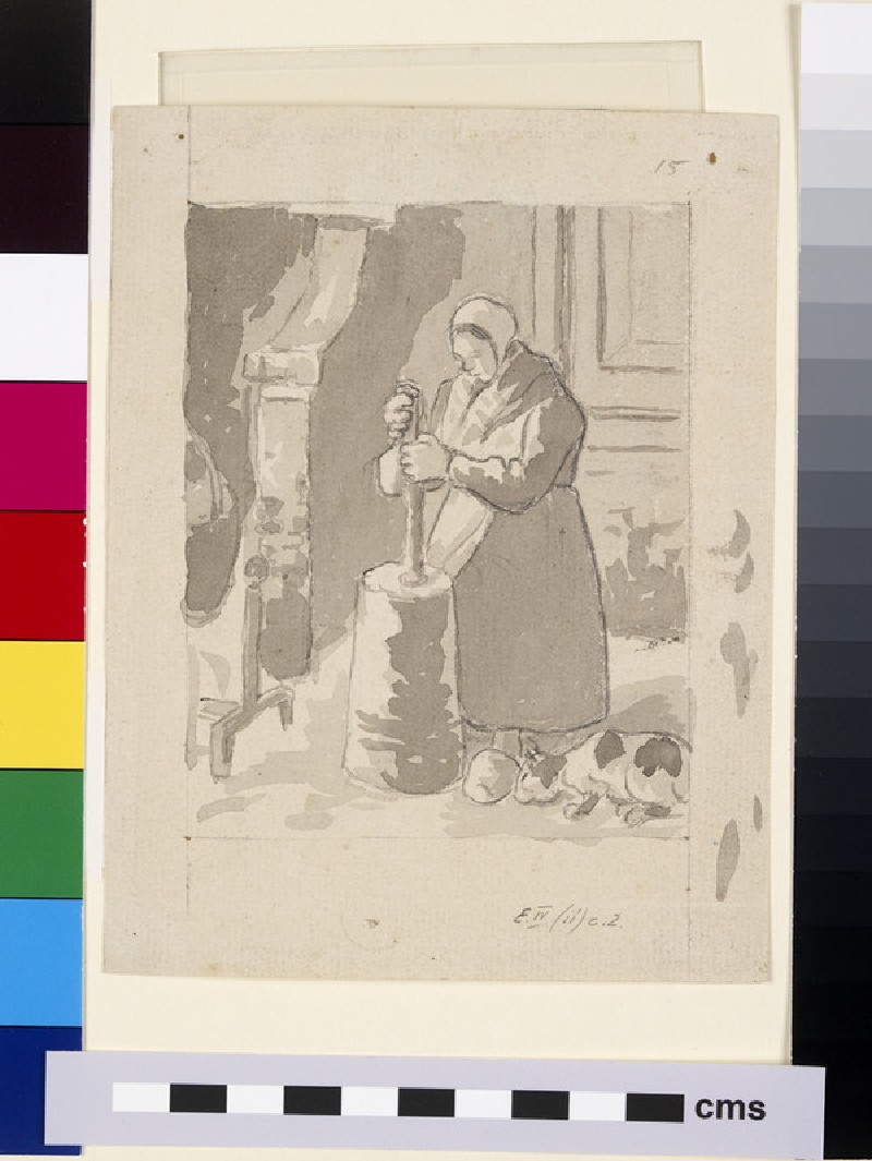 Compositional study of a female peasant making butter (WA1952.6.485)