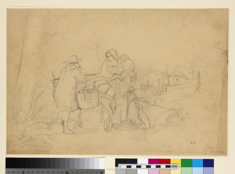 Recto: Compositional Study of a Peasant Family with a Donkey in a Landscape<br />Verso: Landscape in France (La Roche-Guyon)