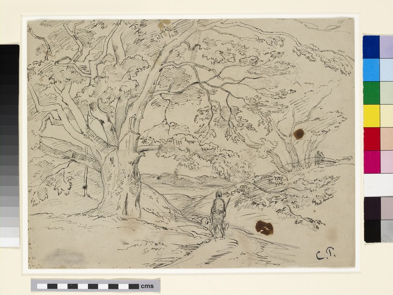 Compositional study of a landscape with trees, a road, and figures