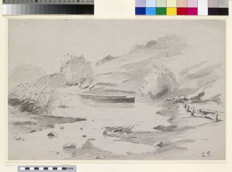 Recto: Study of a River Landscape with Boats<br />Verso: Two compositional Studies of a domestic Interior with a Woman arranging Flowers in a Vase