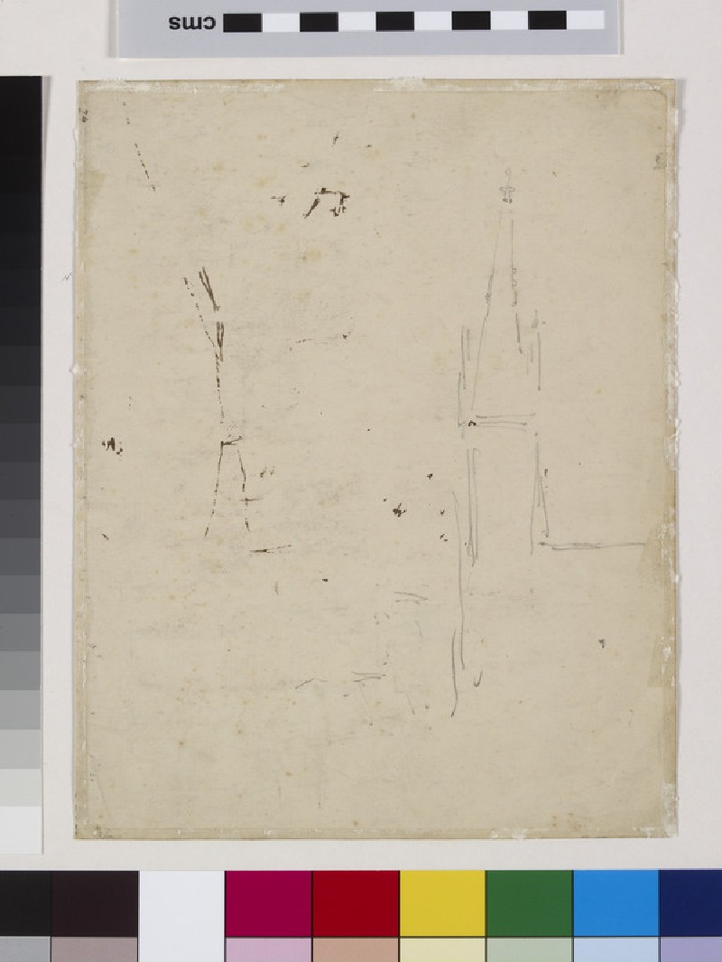 Recto: Study of Upper Norwood, London, with All Saints Church<br />Verso: Slight Study of All Saints Church, Upper Norwood, London (WA1952.6.93)