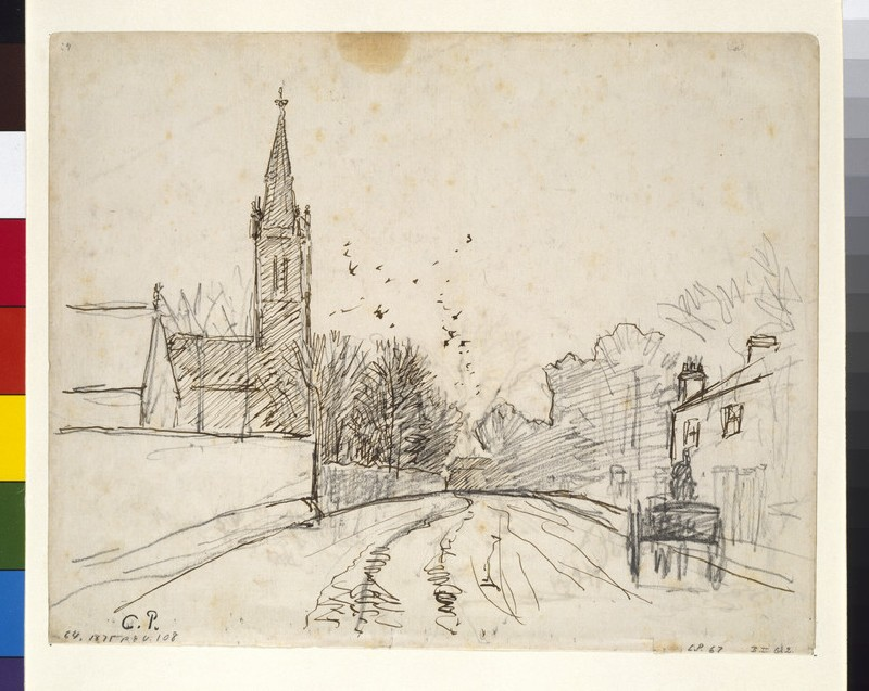 Recto: Study of Upper Norwood, London, with All Saints Church