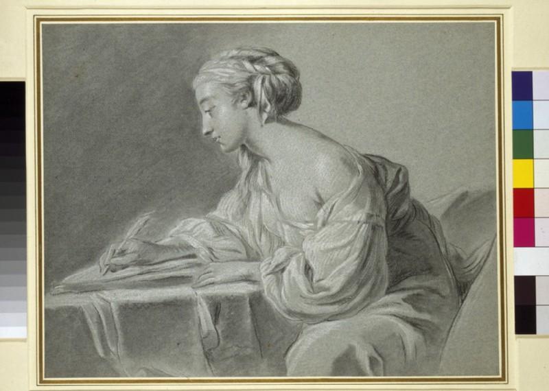 Woman writing at a table (WA1952.76)