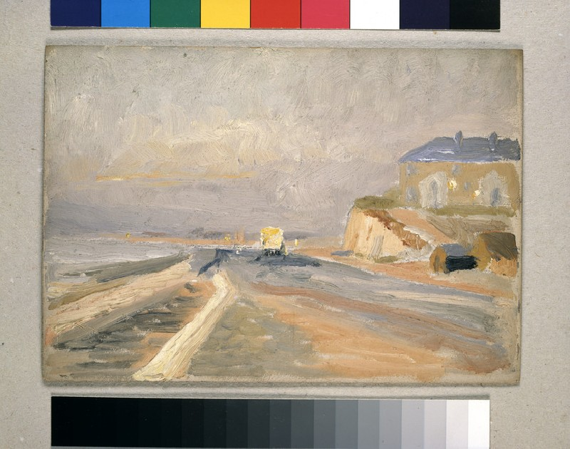 Coast Scene with yellow bus in front of large building