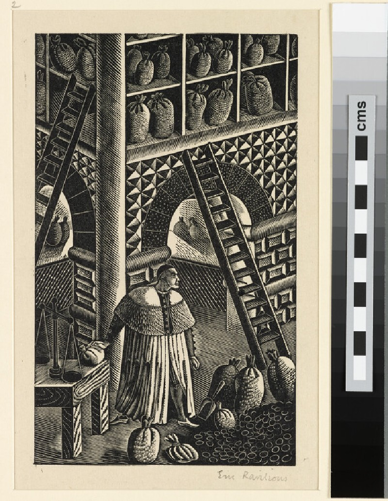 Illustration for 'Famous Tragedy of the Jew of Malta': the Jew of Malta in his counting house (WA1954.157.95)