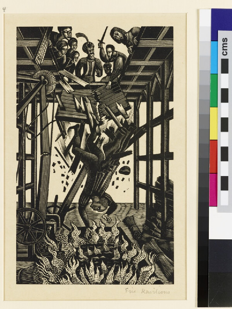Illustration for 'Famous Tragedy of the Jew of Malta': man plunging into flaming sea