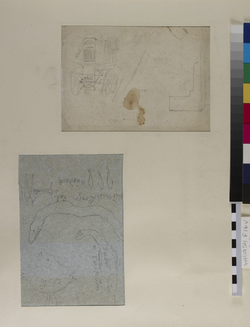 Recto: Studies of a Foot and a Shoe<br />Verso: Studies of Fish